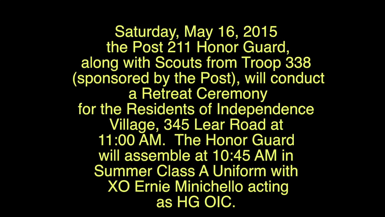 Video:   Retreat Ceremony, Armed Forces Day, Sat., May 16, 2015