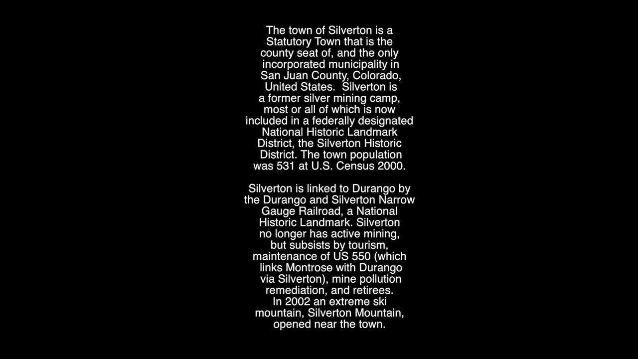 VIDEO:  Silverton, Colorado photos ( 7 mins)
