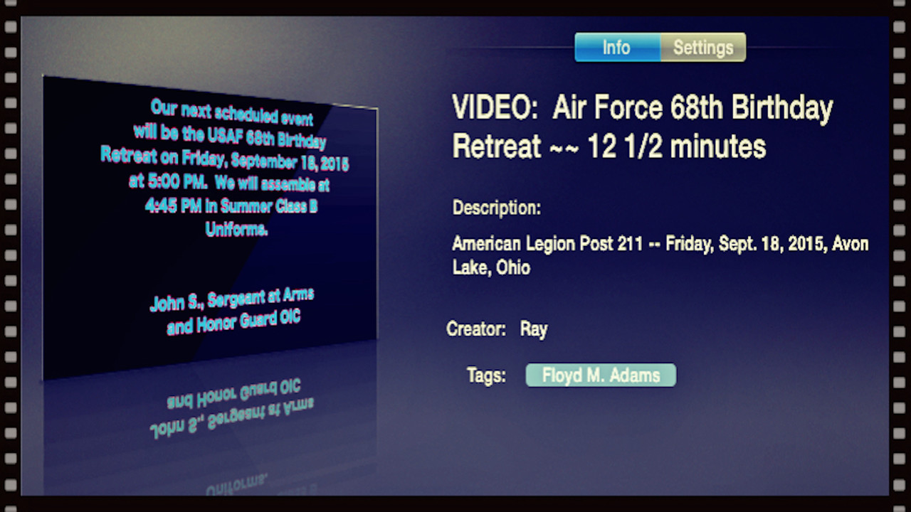 VIDEO:  Air Force 68th Birthday Retreat ~~ 12 1/2 minutes