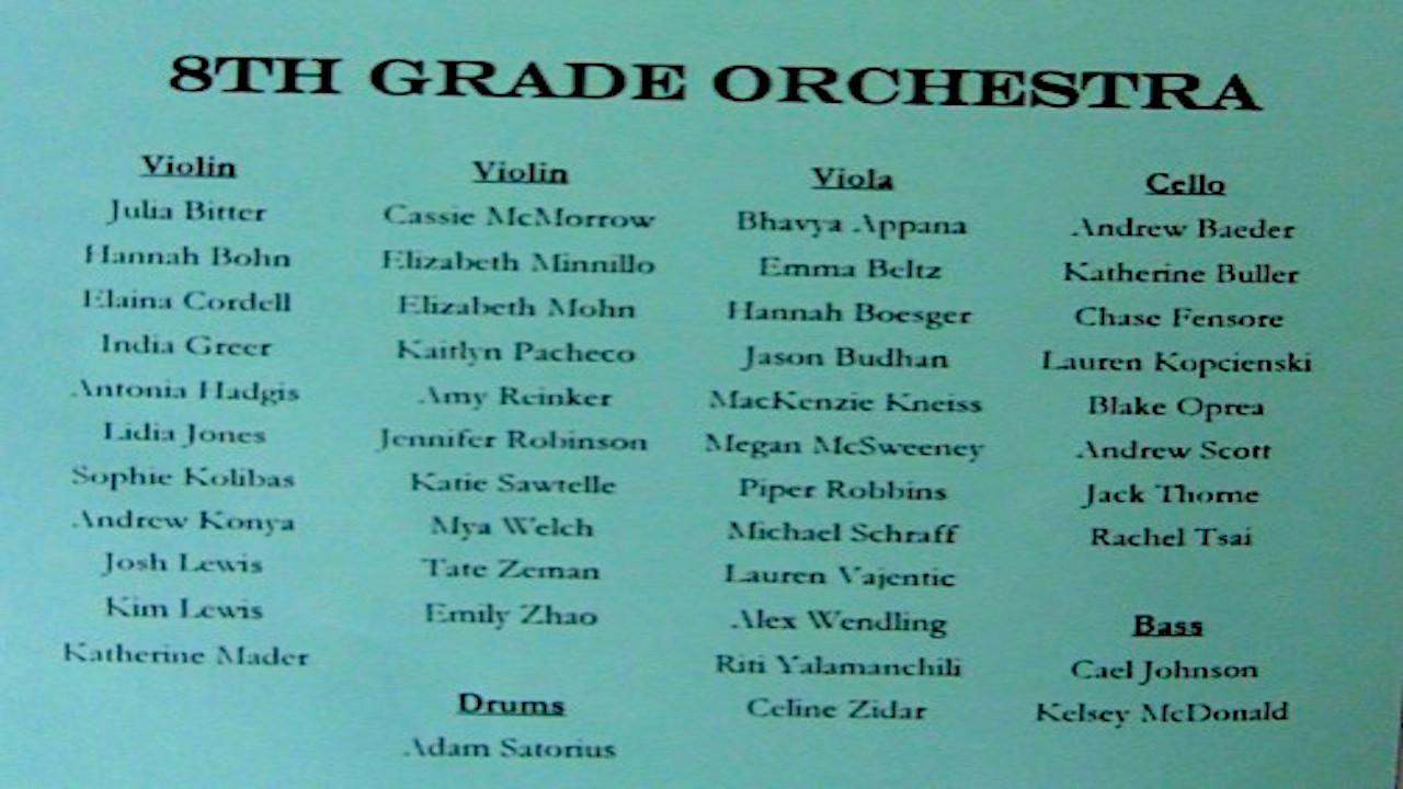 VIDEO -- 8th Grade Winter Concert Musicians