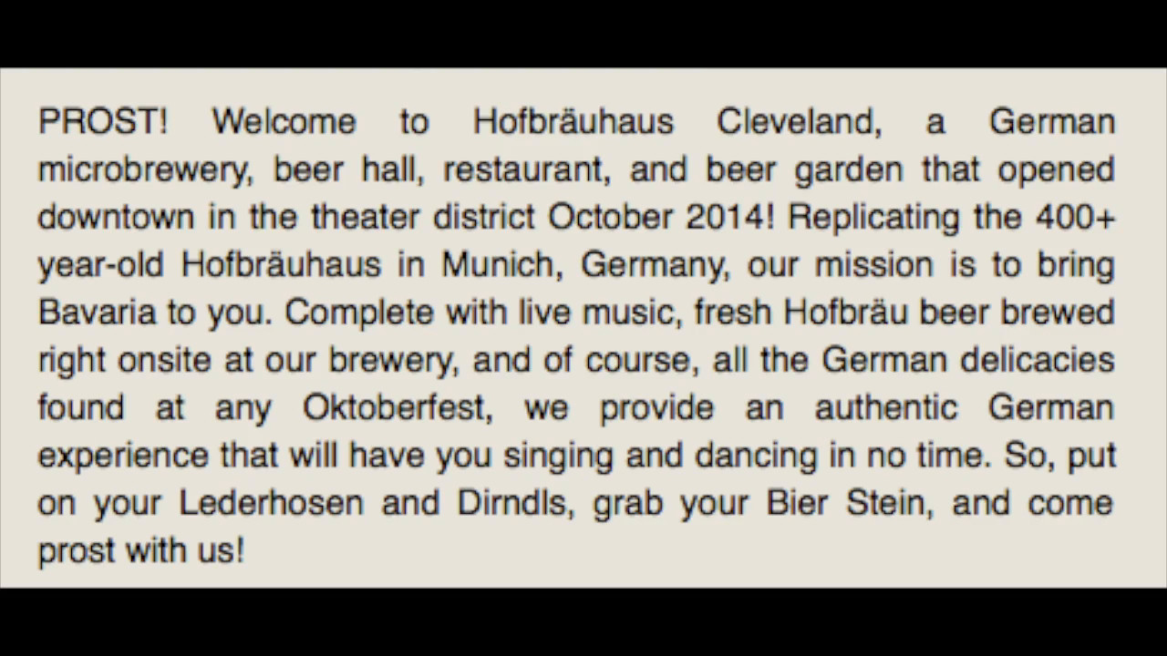 VIDEO:  Click on photo and then click on triangle to view video.  Hofbrauhaus-Cleveland2